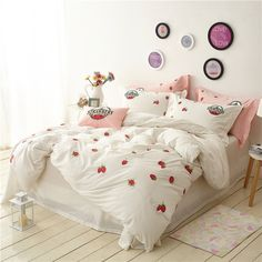 4Pcs Washed cotton Strawberry Bedding sets quality Soft bedclothes Queen/King size Duvet cover set BedSheet Pillowcase bed linen