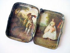 Take a Step. red postage stamps pillbox tin box locket romantic landscape pendant.