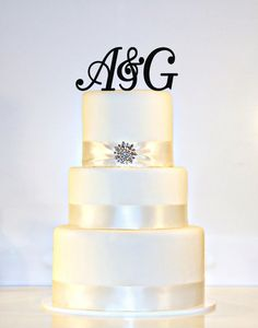 "Wedding Cake Topper Monogram -  (2) 3"" tall Initials & Ampersand Acrylic in Any Letters A B C D E F G H I J K L M N O P Q R S T U V W X Y Z"