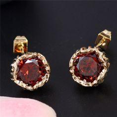Wholesale 18K Gold Plated Flower Cubic Zirconia Lady's Stud Earrings