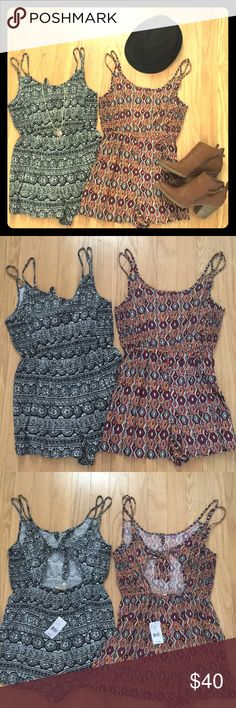 • Free Spirit Gypsy Romper Bundle • 🌸Be free and look amazing in these sexy hippie style rompers this festival season! 🎡🎸🌼🎨🎼 Gorgeous on-trend colorful bohemian print. Open back that ties. Size S. 🛍Price is for both. 100% rayon. Accessories not included. 🚨🚨MAKE OFFERS!! I'm moving in April & EVERYTHING MUST GO!!🚨🚨 Passport Pants Jumpsuits & Rompers