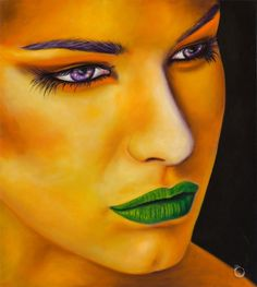 Words of Hope - Print. Words of Hope by Guillermo De Rosa portrays both drama and allure in this portrait of a young woman. This evocative piece features a palette of rich gold tones with accents of vibrant green and purple.