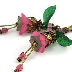 New Original Design Pink Lucite Flower Emerald Green Leaf Czech Glass Earrings #Dazzlingflair