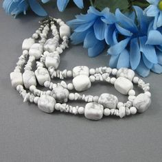 Chunky white gray marbled howlite double two strand choker necklace | Thesingingbeader - Jewelry on ArtFire