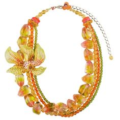 Lalo Treasures Resin Necklace with Orchid in Yellow Tones