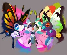 Beautifly, Vivillon, and Butterfree.