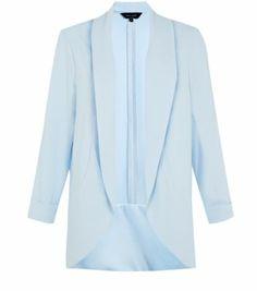 Light Blue Open Front Longline Blazer