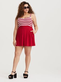 a2495e536347 Retro Chic Red   White Stripe Romper - Our lightweight romper has cherry  red stripes and a flared silhouette for a flirty sailor-inspired look.