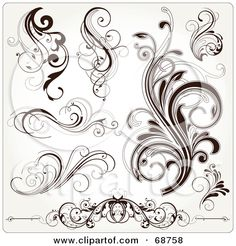 Small Tattoo Design Ideas | ... Collage Of Dark Brown Floral Scroll Design Elements by OnFocusMedia