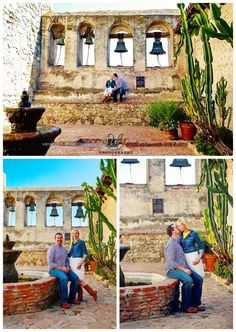 Happy Couple (engagement) photos taken at the Mission in San Juan Capistrano