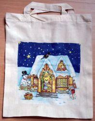 Baumwolltasche-weihnachtliches-Haus-mit-Baeren