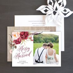 Bohemian Holiday Newlywed Photo Cards by Elli Christmas Photo Cards, Christmas Greeting Cards, Christmas Greetings, Wedding Stationery, Wedding Invitations, First Christmas, Newlyweds, Save The Date, Card Ideas