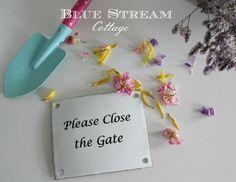 Garden Sign  Vintage 1930's Recreation Metal by BlueStreamCottage