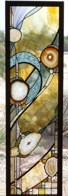 """stained glass window panel """" DEVINE """" Exquisite European hand blown glasses, Brazilian agates, hand poured glass, lead accents, alder framed-- by ZuniMountainArtGlass"""
