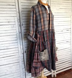 This piece is part of my Prairie Chic Collection for Fall and Winter... washed out jeans, Flannel, Lace and Floral Prints. Western inspired clothing in Old West Romance and Frontier Days Simplicity. Great Casual Coat made from Outdoor Quality heavy-weight Flannel Shirts. Beautiful Fall Colors in yellows and pumpkin orange, with grays and faded blue. Opens in front with small shirt buttons. Can over-lap for a smaller size, just tie with the fabric belt. Or wear open, leaving the belt to hang…