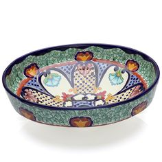 Mexican Juanetta Oval Vessel Hand-painted Bathroom Basin