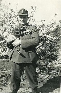 German soldiers with cat.