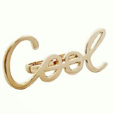 GOLD COOL RINGS 2 finger Stretch rings that reads Cool in cursive Jewelry Rings
