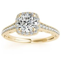 Transcendent Brilliance 14k Gold Graduate Halo Diamond Engagement Ring 1 1/4 TDW (Yellow - 8.75), Women's, Pink