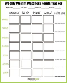 Weight Watchers Weekly Points Tracker Free Printable. >> Discover even more by going to the picture link