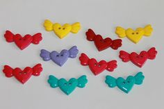 Heart with wings shape buttons 10 cute by BeadsButtons4Crafts