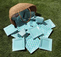 Cheerful and chic, Aquamarine chevron melamine dinnerware is picnic perfect. #zgallerie