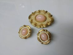 Avon Victorian Spring pierced earrings and Brooch  Mint Condition 1988