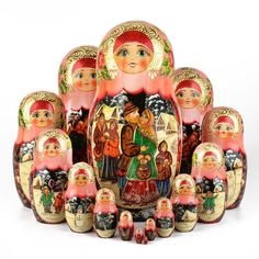 Russian Holiday Nesting Dolls 15 pcs. - This wonderful, authentic nesting doll was imported directly from Russia. It is hand-carved from birch wood and hand painted by a talented Russian artist. Open it up and it reveals a set of similar, smaller dolls inside. Each doll shows a Wintery scene. Signed and dated on the bottom: City Sergiev Posad Artist Tereshkova Russia 2002