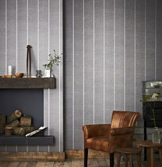 Prairie Gray Striped Wallpaper - Silver Stripes Wall Coverings by Graham  Brown