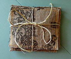 Burlap Coffee Bag Coasters Recycled Coffee by MelanieDorseyDesigns, $7.00