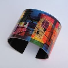 Cuff | Gail Klevan-UK. 'Matisse'  Hand painted Acrylic