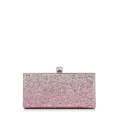 CELESTE/S. Celeste/S Clutch Bag with Cube Clasp in Flamingo and Platinum Ice Glitter Dégradé Fabric  . Discover our Spring Summer 18 Collection and shop the latest trends today.