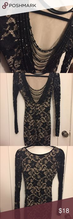 "Black Lace fitted body-con long sleeve dress sz S Black lace dress with a nude underslip. Boat-neck-like in front, beaded scoop neck at back. Size Small. Never EVER worn. Good boy ""Bill"" bought it for me AFTER I  asked if he was married and he claimed no, & BEFORE his wife found out Bill had booked two first class flights to Hawaii...needless to say I went to Hawaii solo wearing much less fancy clothes...and there's nothing ""Sarong"" with that. Dresses Midi"