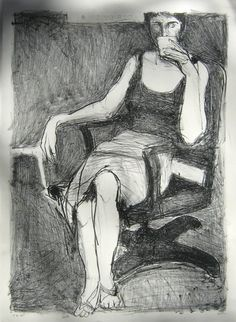 "Richard Diebenkorn (1922 - 1993) ""Woman Drinking"" (knees!)"