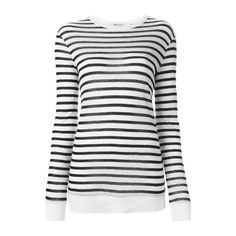 ALEXANDER WANG Longsleeved Striped T-Shirt ($168) ❤ liked on Polyvore featuring tops, t-shirts, shirts, long sleeves, sweaters, white, white stripes shirt, horizontal striped shirt, white t shirt и round neck t shirt