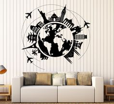 Wall Vinyl Decal Atlas World Map Travel Trip Vacation Famous Places Home Decor z4413
