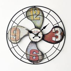 Pas cher 40 * 40 CM Style de l'europe Creative 3D fer ventilateur modèle horloge…