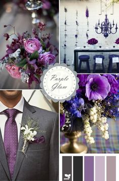 In the future I hope my ''fiance'' would agree with having a pink wedding but if he is so against it this would be my ''go-to'' palette. Shades of purple and grey.
