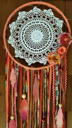 Large dream catcher doily dream catcher by ConsciousEarthCreate Grand Dream Catcher, Making Dream Catchers, Doily Dream Catchers, Dream Catcher Mobile, Large Dream Catcher, Dream Catcher Boho, Diy Craft Projects, Crochet Projects, Diy Crafts