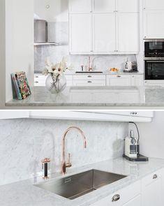Vackert med vit marmor i köket -om man sköter det rätt SE SKÖTSELRÅD i pin