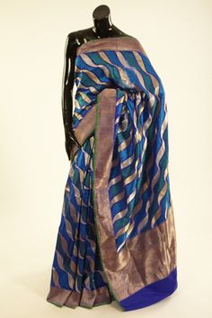 Banarsi- silk indigo blue saree with blouse