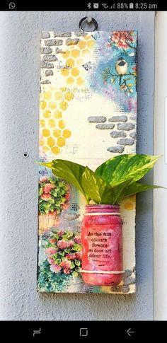 Bottle Painting, Bottle Art, Bottle Crafts, Cool Paper Crafts, Paper Flowers Craft, Diy Crafts For Home Decor, Diy Arts And Crafts, 3d Wall Art, Mural Art