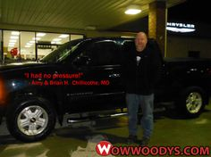 """Amy and Brian Horton from Chillicothe, Missouri purchased this 2007 Chevrolet Silverado and wrote, """"Very good. I had no pressure when looking at cars. After I found the truck, I called and had it ready, Most of the deal was made over the phone. Thanks Polly."""" To view similar vehicles and more, go to www.wowwoodys.com today!"""