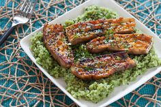 Miso-Glazed Eggplant with Green Tea Rice. Visit https://www.blueapron.com/ to receive the ingredients.