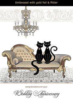 Black Cat Wedding Anniversary Card