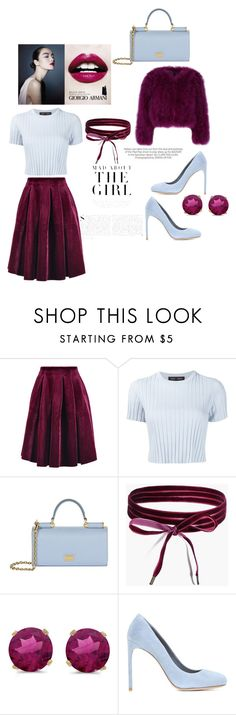 """mad about the girl"" by marifimarina ❤ liked on Polyvore featuring Maje, Proenza Schouler, Dolce&Gabbana, Boohoo, BillyTheTree, Armani Beauty, Miu Miu and Kershaw"