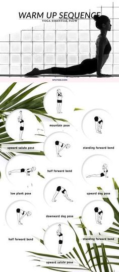 Awaken the body and prepare for a workout with this yoga warm up flow. Repeat this flow for 5 rounds, give yourself time to ease into the asanas and, with each exhale, move deeper into the poses. http://www.spotebi.com/yoga-sequences/warm-up-flow/