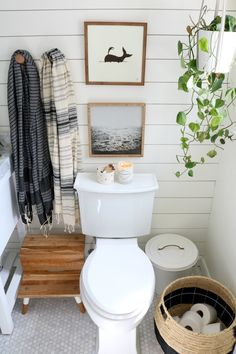 Chic, electric bathroom update featuring shiplap, single vanity
