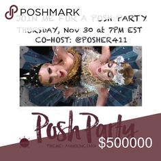 "POSH PARTY 🎉 🎉 Please join me as I co-host another FABULOUS POSH PARTY!  For HOST PICK opportunities: 1. Love this post and share it 2. Love items in my closet? Share them & comment on my items.  3. Please comment on items you think I'd love by tagging @posher411 and write: ""@posher411, please consider for a HOST PICK!  Smiles, Melissa Other"