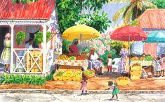 Family Market by Anne Miller, x watercolour print Watercolor Print, Watercolours, Caribbean, Painting, Art, Art Background, Painting Art, Kunst, Paintings